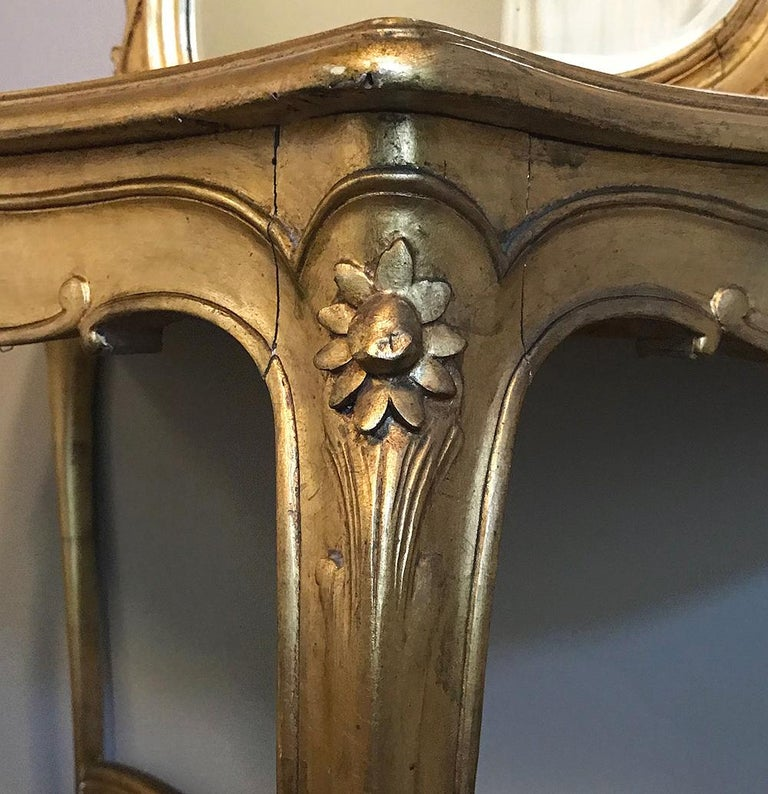 Console, Mirror, 19th Century Italian Rococo Giltwood with Marble Top For Sale 2