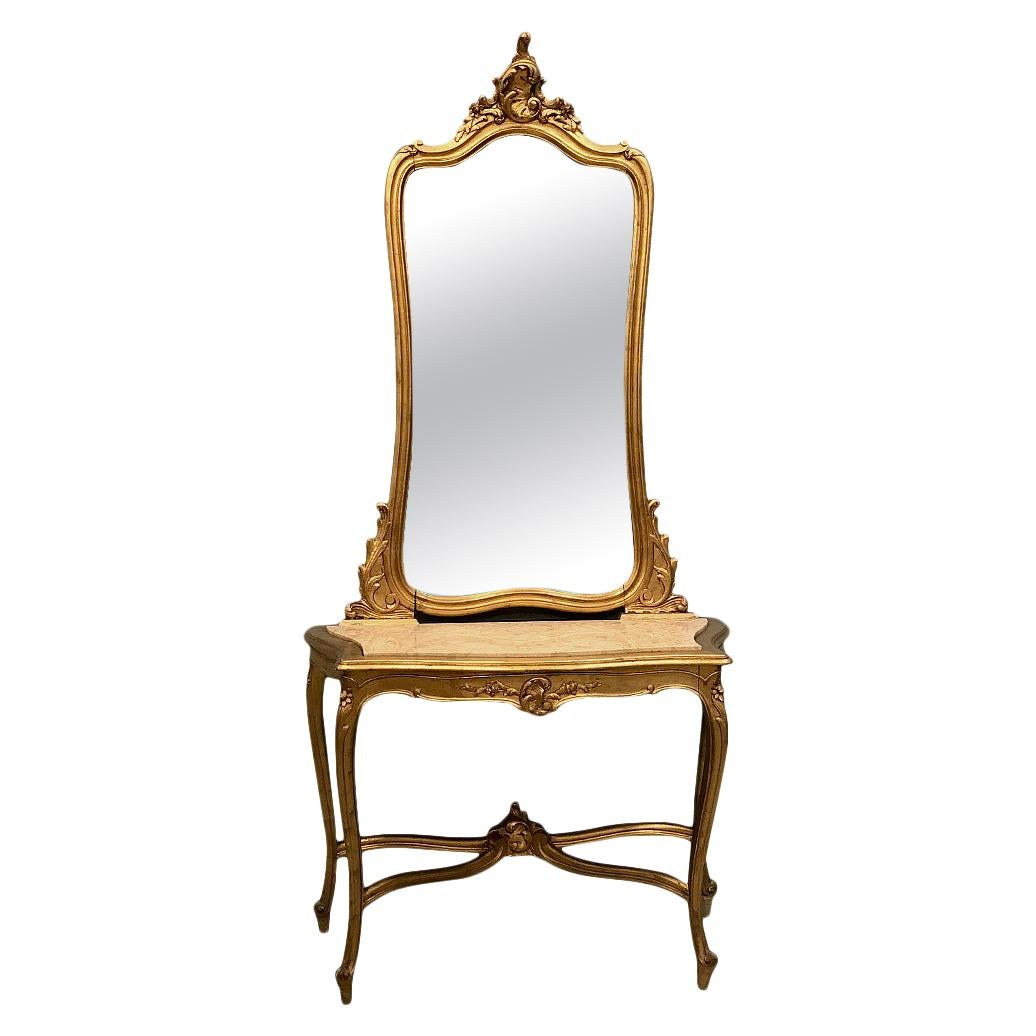Console, Mirror, 19th Century Italian Rococo Giltwood with Marble Top
