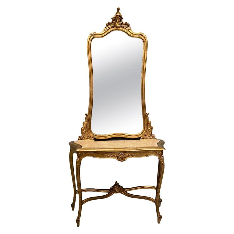 Console, Mirror, 19th Century Italian Rococo Giltwood with Marble Top For Sale