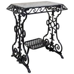 Console or Side Table Marble Top and Sewing Machine Holder, French, circa 1920