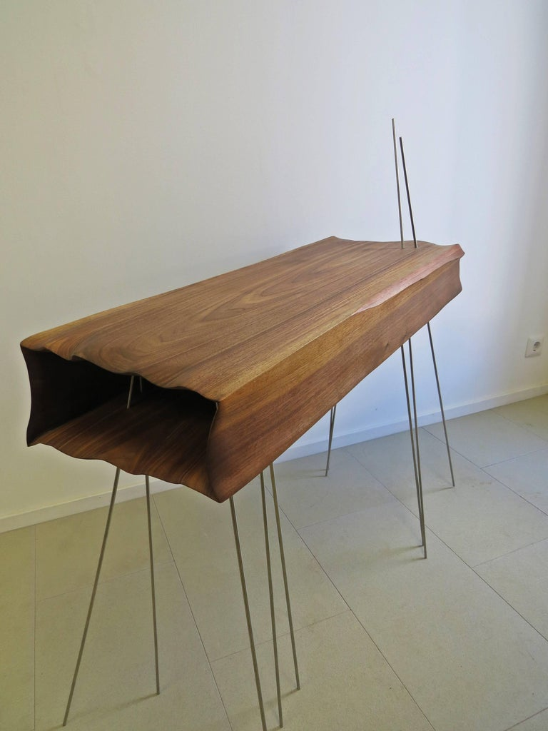 Hand-Crafted Console Organically Sculptural Solid Wood For Sale