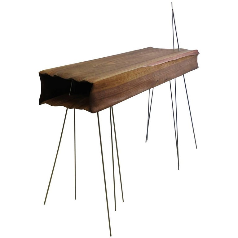 Console Organically Sculptural Solid Wood For Sale