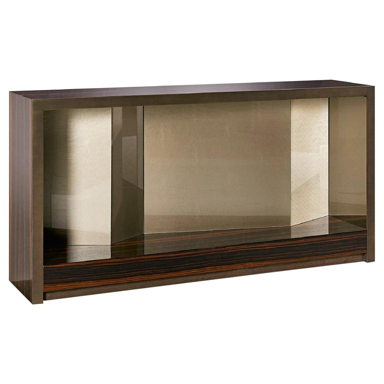 Console Polish Ebony and Champagne Liquid Metal Inside Back Panels in Vetrite For Sale