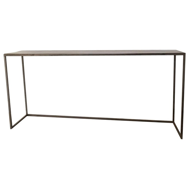 Console Sidetable Reclaimed Walnut and Iron For Sale