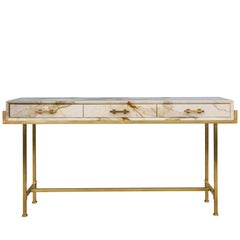 Console Side Table in Paonazzo Marble, Cherry Wood and Solid Brass