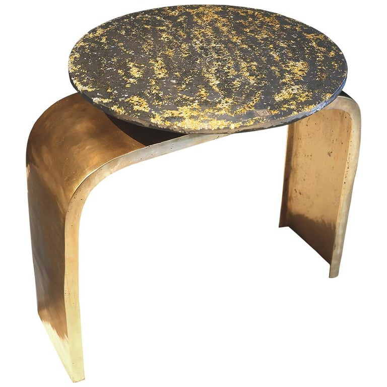 """Console-Table """"Bridge Legs Sun #2"""", Melted Pewter, Brass Grains, Crystal Resin For Sale"""