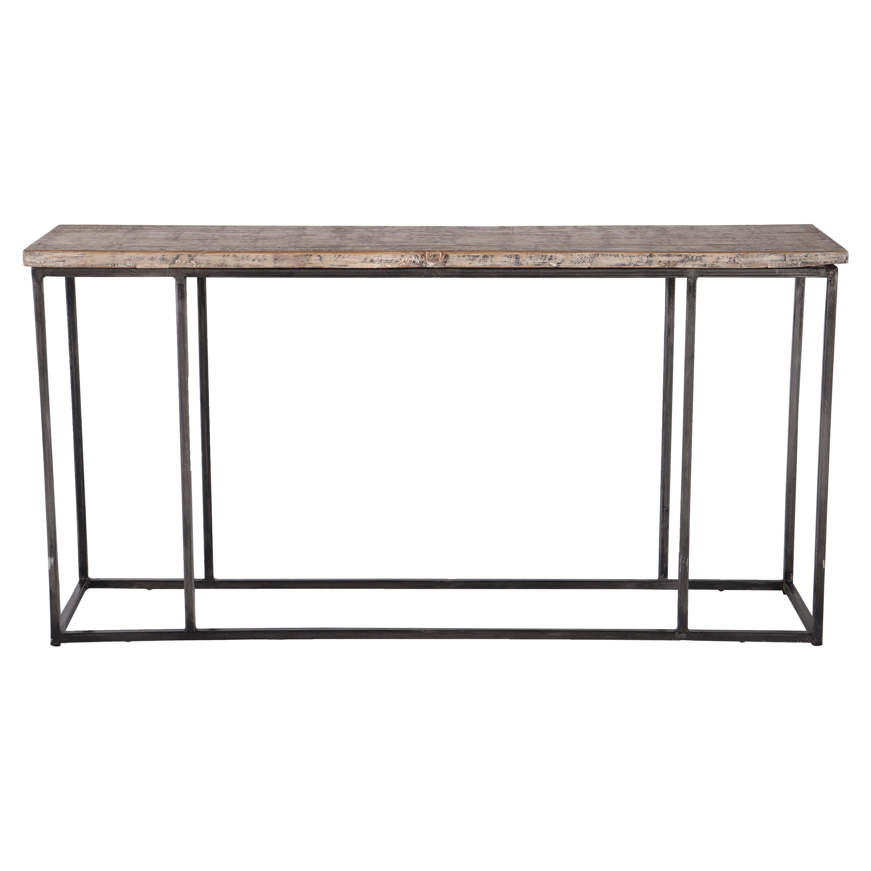 Console Table Crafted from Repurposed Ash, Patined Steel Base