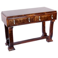 Art Deco Console Table by Hille Burr Walnut and Mahogany lined English 1930's