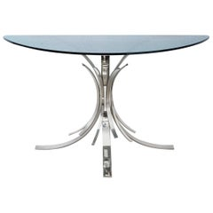 "Console Table ""Gerbe"" by Maria Pergay, Stainless Steel and Tempered Blue Glass"