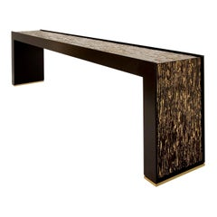 Console Table in Black and Gold Wood