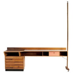 Console Table in Blond Walnut and Formica, Italy 1955