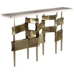Console Table in Cream Shagreen and Bronze-Patina Brass by Kifu, Paris