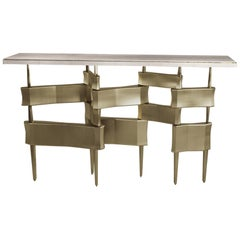 Console Table in Cream Shagreen and Bronze-Patina Brass by Kifu Paris