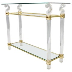 Console Table in Glass, Brass and Lucite, 1970s