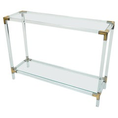Console Table in Lucite, Nickel, Brass and Glass, 1970s