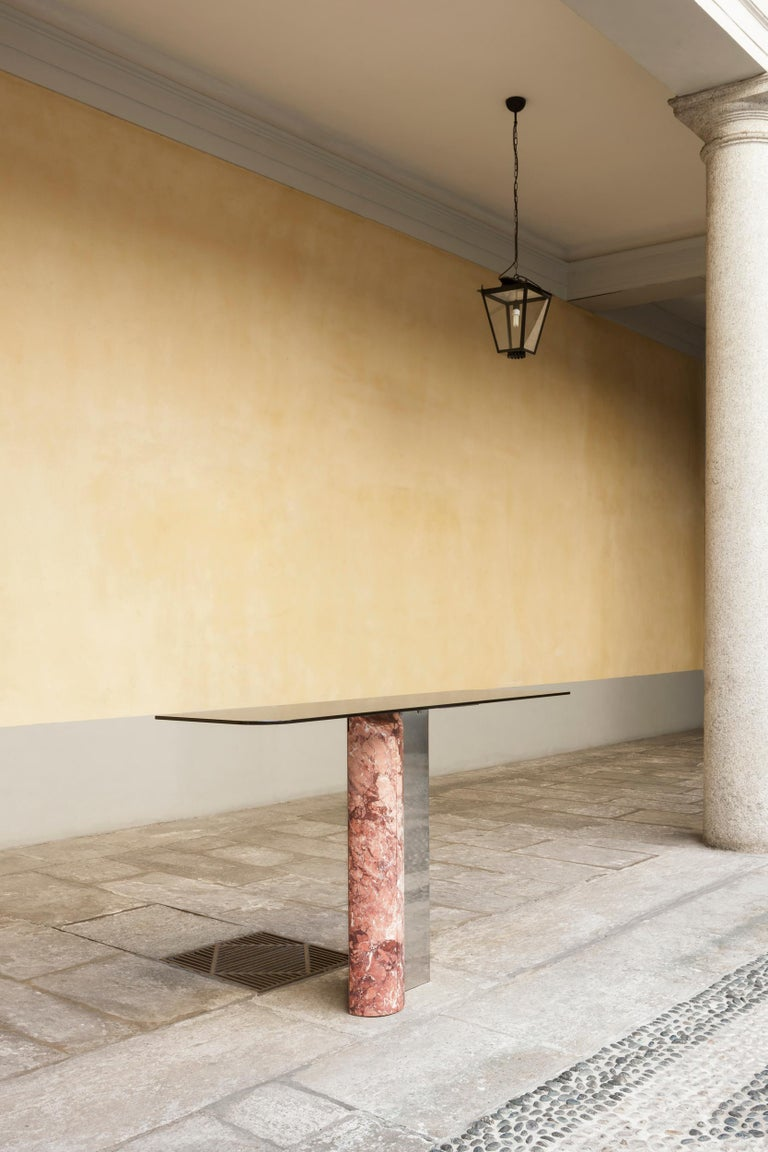 Sculptural Console Table in rare Marble and Steel handmade in Italy  In New Condition For Sale In Milano, IT