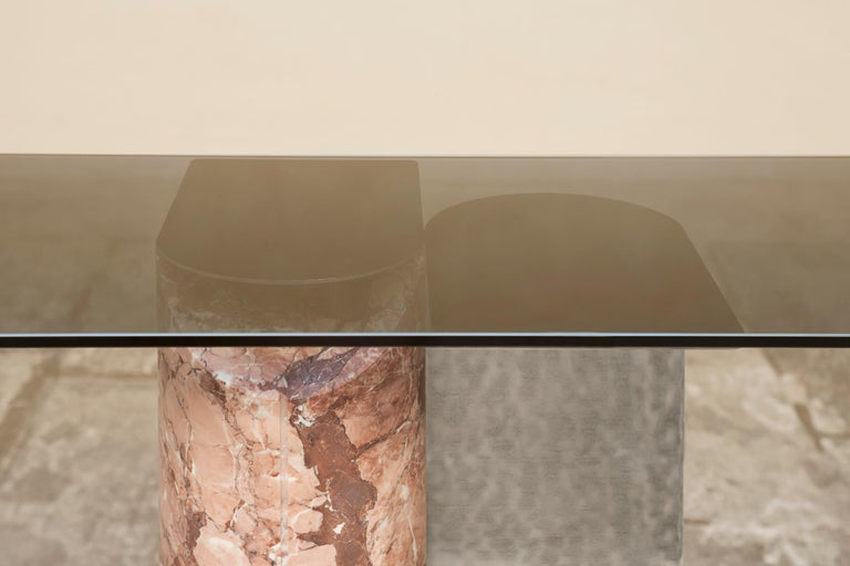Contemporary Sculptural Console Table in rare Marble and Steel handmade in Italy  For Sale