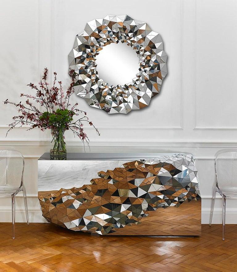 Modern Geometric Console Table in Mirror Polished Steel -