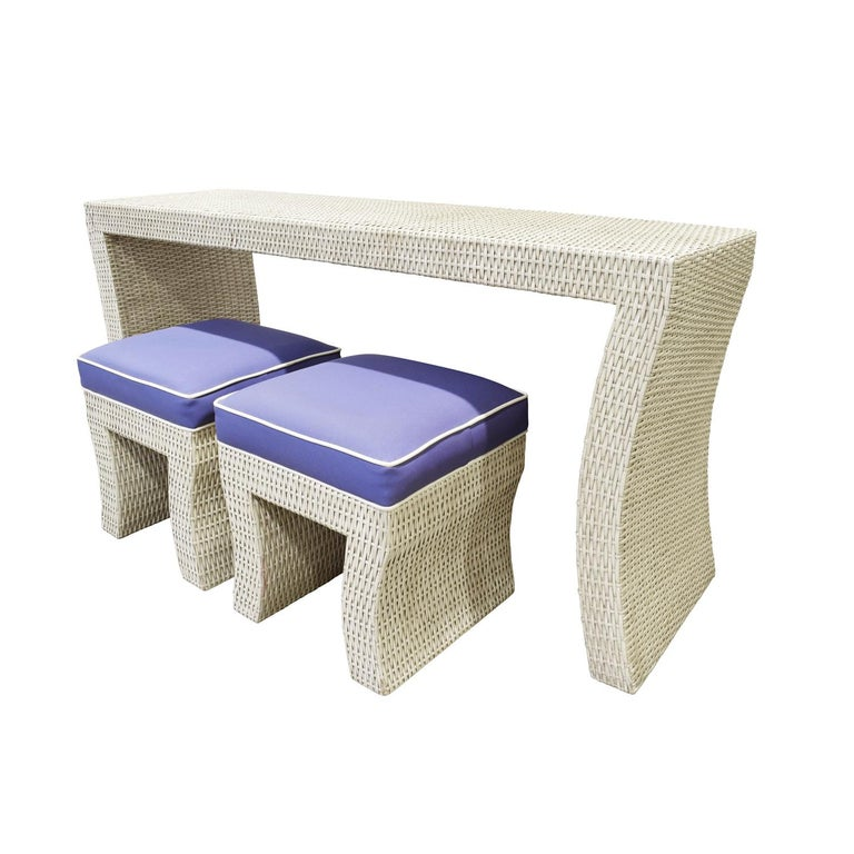 Hand-Crafted Console Table in Wicker in the Style of Karl Springer, 1970s For Sale