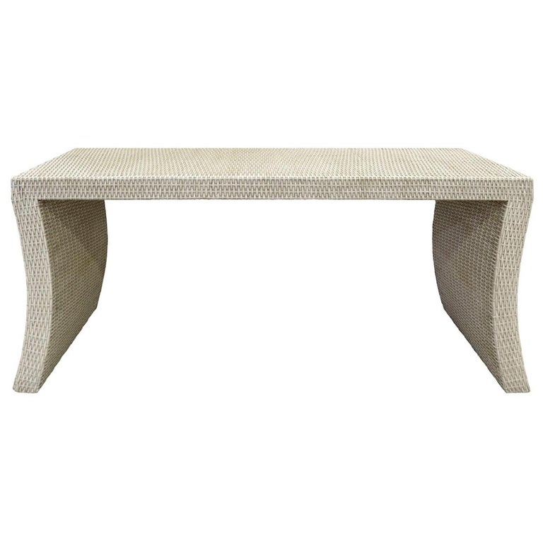 Console Table in Wicker in the Style of Karl Springer, 1970s For Sale