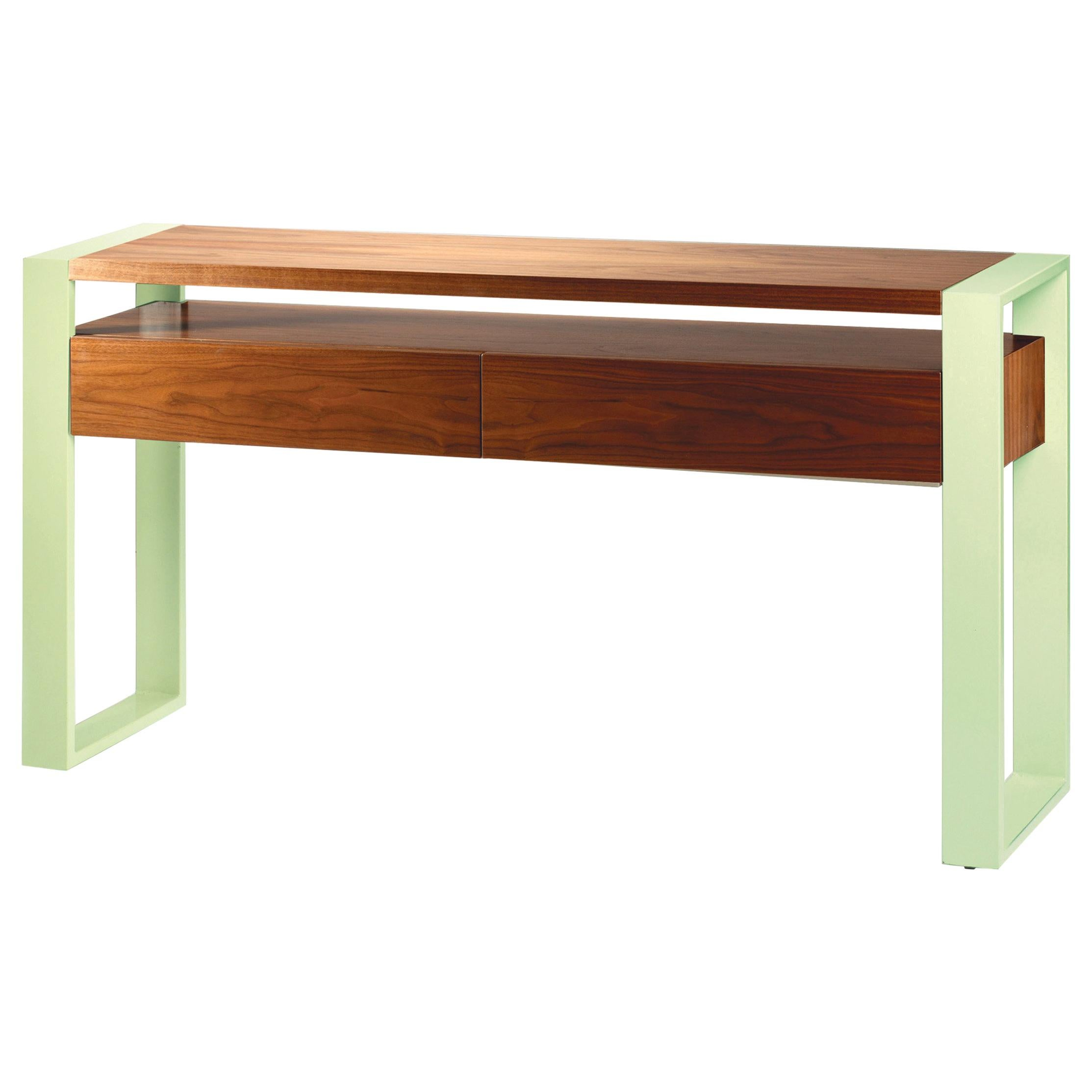 Console Table Iron in Wood and Lacquered Metal