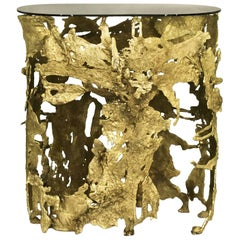 Console Table Lava with Casted Brass Base