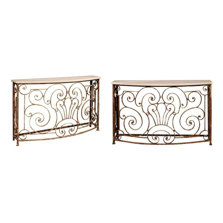 Surprising Console Table Made From Parisian 1880S Wrought Iron Balcony Inzonedesignstudio Interior Chair Design Inzonedesignstudiocom