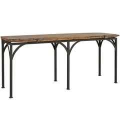 Console Table Made of an 18th Century Spanish Chestnut Board on Custom Iron Base