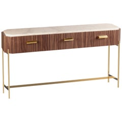 Console Table Malcolm in Wood, Brass and Marble
