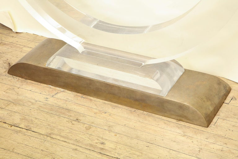 American Console Table Mid-Century Modern Architectural Lucite Glass and Brass, 1970s For Sale