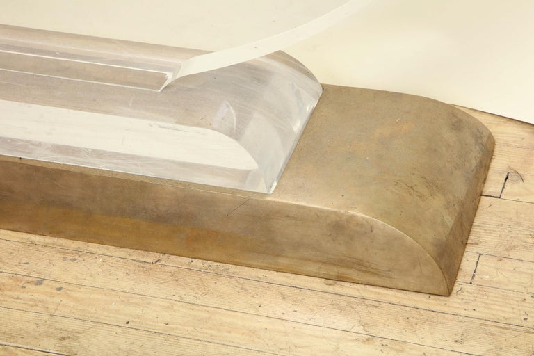 Late 20th Century Console Table Mid-Century Modern Architectural Lucite Glass and Brass, 1970s For Sale