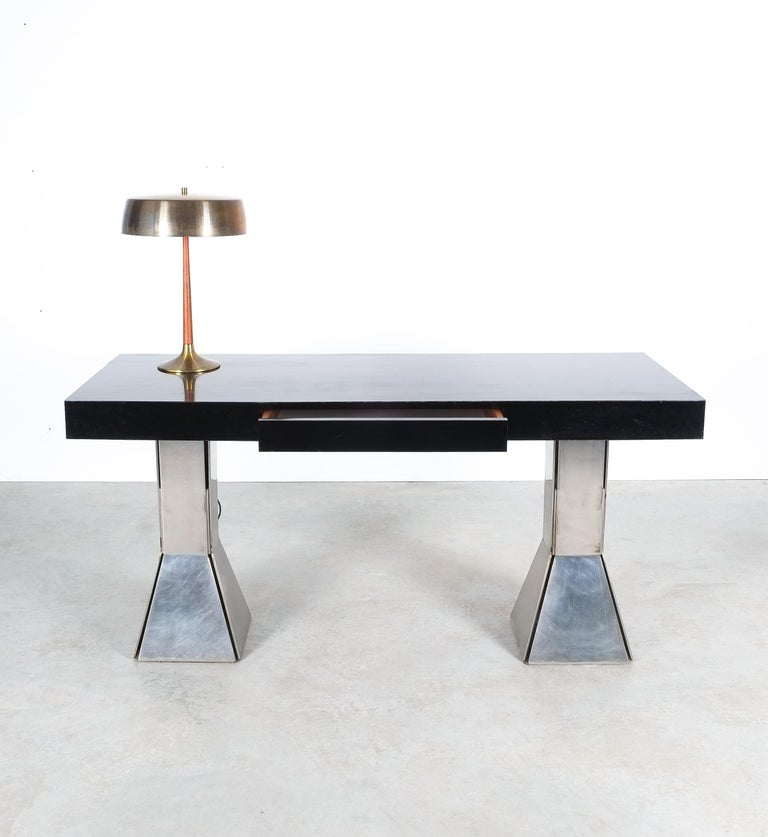 Console Table or Desk In Formica Stainless Steel, Italy For Sale 4
