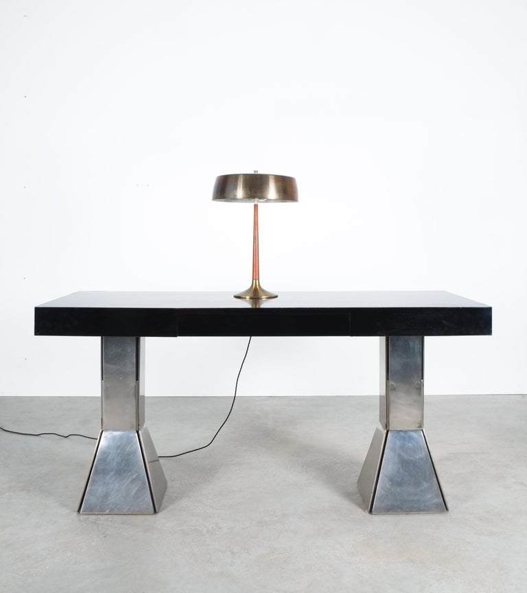 Console Table or Desk In Formica Stainless Steel, Italy For Sale 7