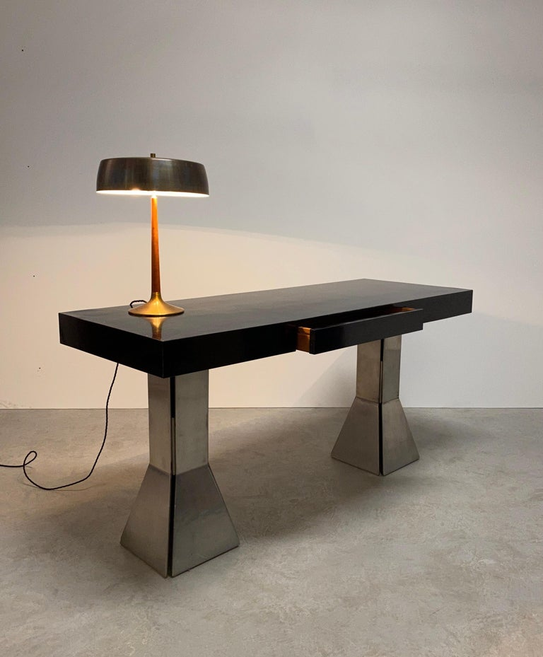 Console Table or Desk In Formica Stainless Steel, Italy For Sale 8