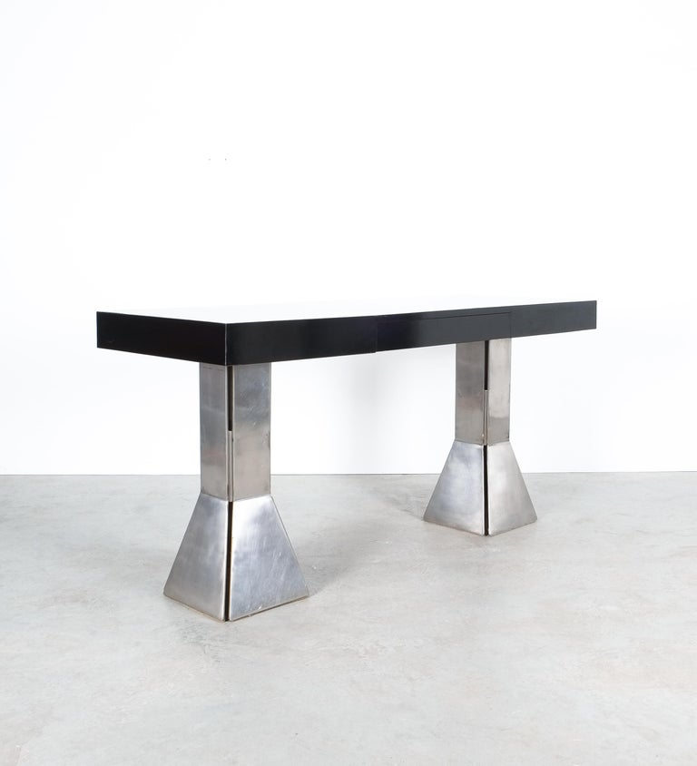 Mid-Century Modern Console Table or Desk In Formica Stainless Steel, Italy For Sale