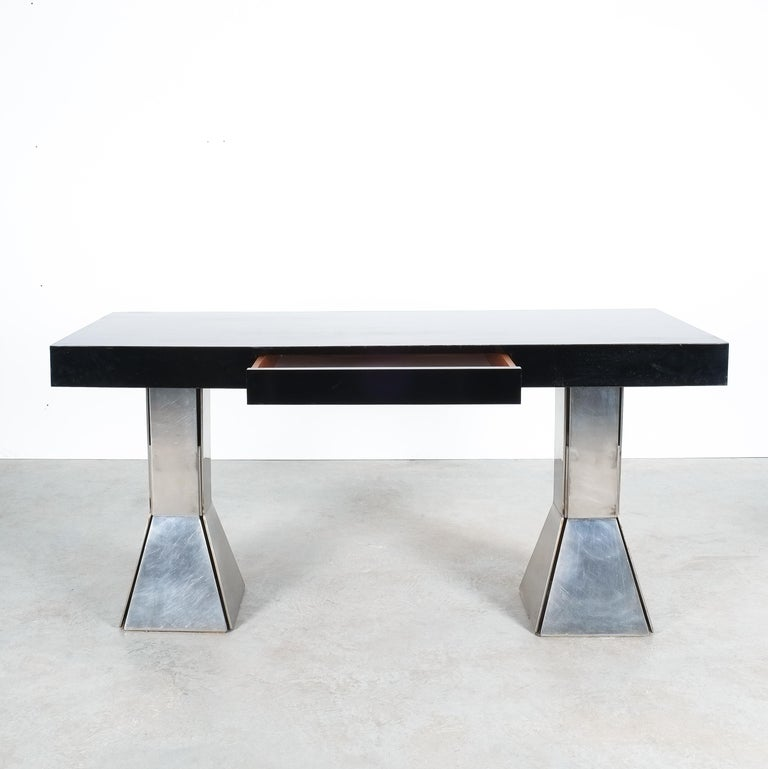 Italian Console Table or Desk In Formica Stainless Steel, Italy For Sale