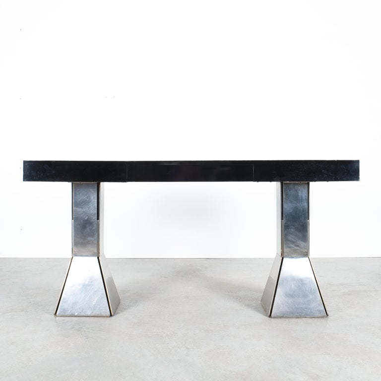 Console Table or Desk In Formica Stainless Steel, Italy In Good Condition For Sale In Vienna, AT