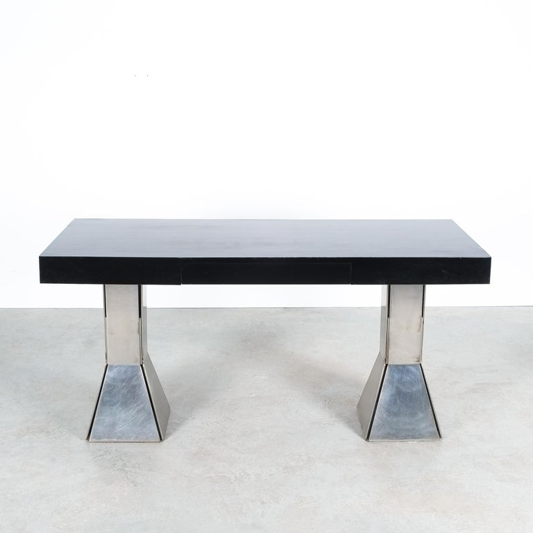 Late 20th Century Console Table or Desk In Formica Stainless Steel, Italy For Sale