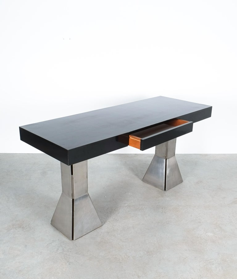 Console Table or Desk In Formica Stainless Steel, Italy For Sale 1
