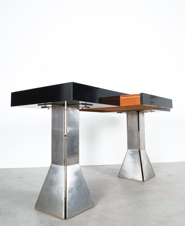 Console Table or Desk In Formica Stainless Steel, Italy For Sale 2