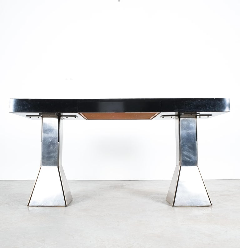 Console Table or Desk In Formica Stainless Steel, Italy For Sale 3