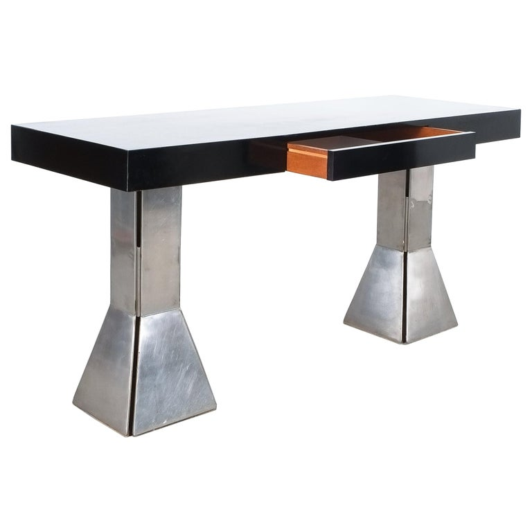 Console Table or Desk In Formica Stainless Steel, Italy For Sale