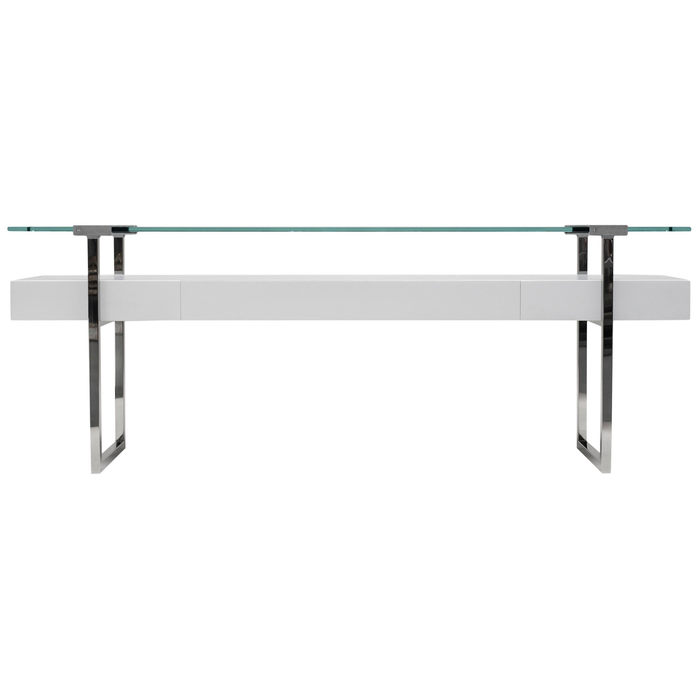 Bauhaus Style Stainless Steel and White Oak 'TRON' T54L Glass Console Table