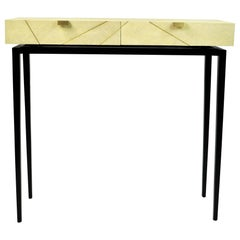 Console Table RADIUS '2 Drawers' in Genuine Shagreen and Brass by Ginger Brown