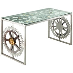 Console Table Stainless Steel Brass Bronze Gilded Burnished Iron Italy Glass-Top
