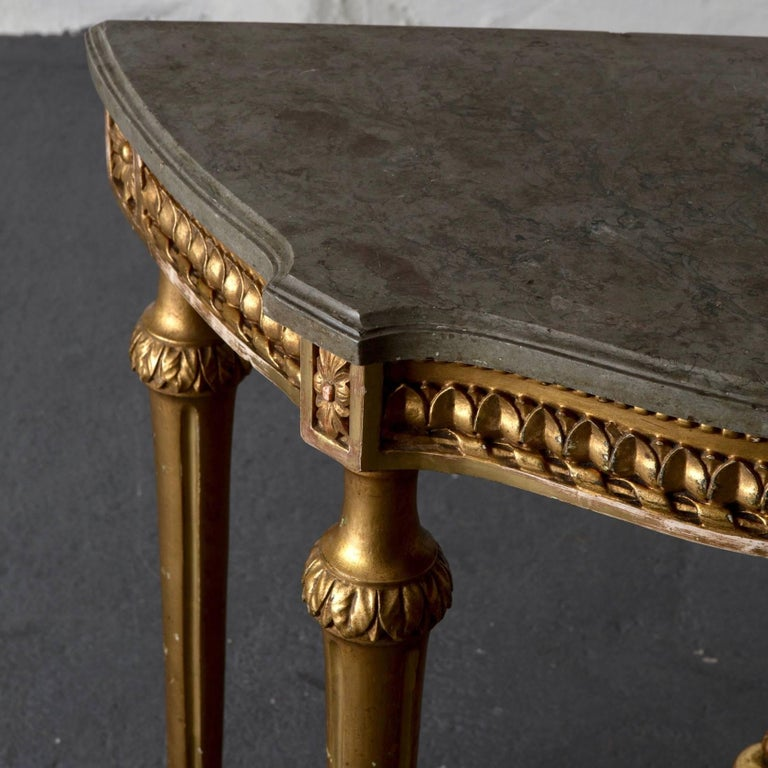 Console Table Swedish Gustavian Gilded Stone Top Neoclassical, Sweden In Good Condition For Sale In New York, NY