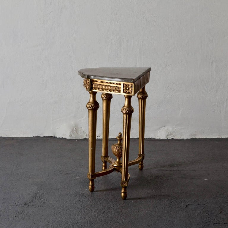 Console Table Swedish Gustavian Gilded Stone Top Neoclassical, Sweden For Sale 2