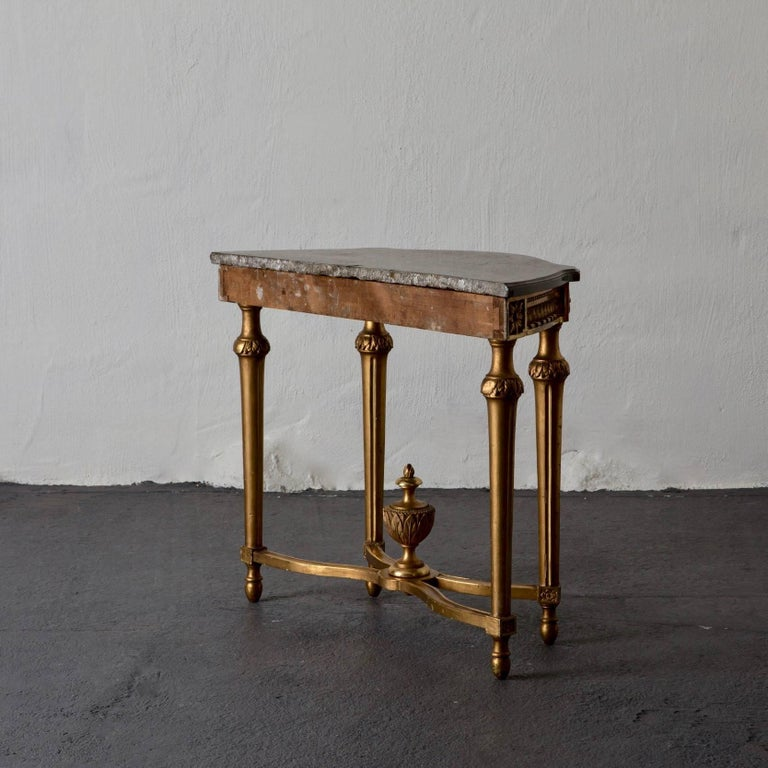 Console Table Swedish Gustavian Gilded Stone Top Neoclassical, Sweden For Sale 3