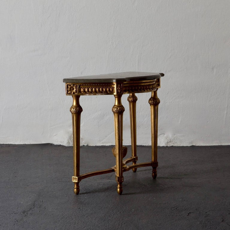 Console Table Swedish Gustavian Gilded Stone Top Neoclassical, Sweden For Sale 4