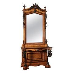 Console Table with Mirror Mahogany, Italy, 19th Century